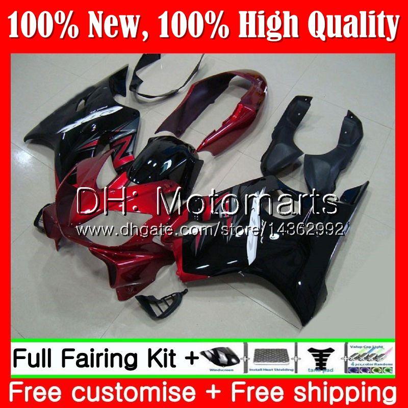 Cuerpo para HONDA CBR 600F4i CBR600 F4i 04 05 06 07 Rojo oscuro 45MT5 CBR 600 F4i CBR600 FS CBR600F4i 2004 2005 2006 2007 Blk Fairing Bodywork