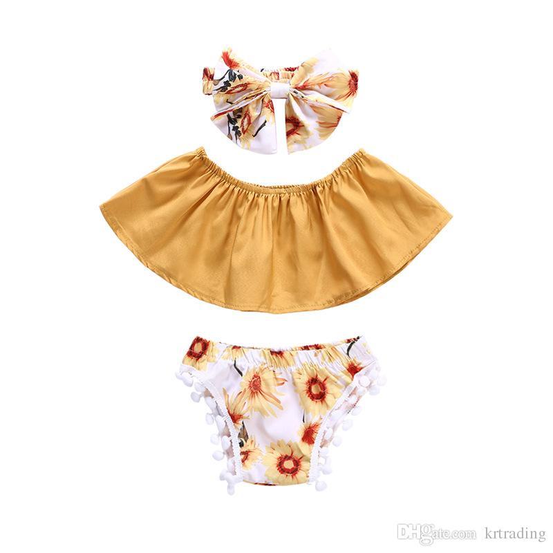 طفل الفتيات الصيف الأزهار تتسابق 3 قطعة مجموعات القوس عقال + المعتوه أنبوب أعلى + شدات الورد السراويل لطيف الصغار زهرة الصيف الملابس