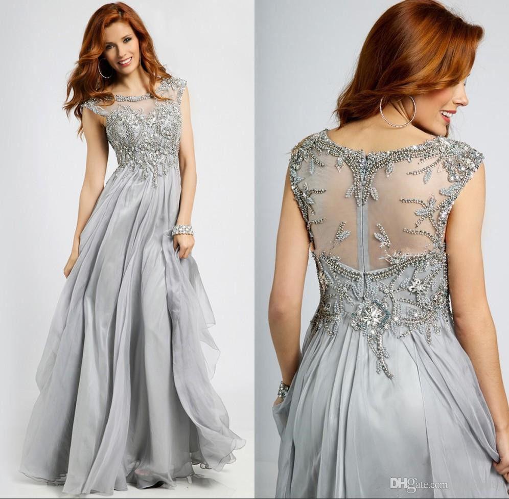 Silber Grau Mutter der Braut Kleid U-Ausschnitt Chiffon Spitze Plus Size Hochzeitsgast Kleid