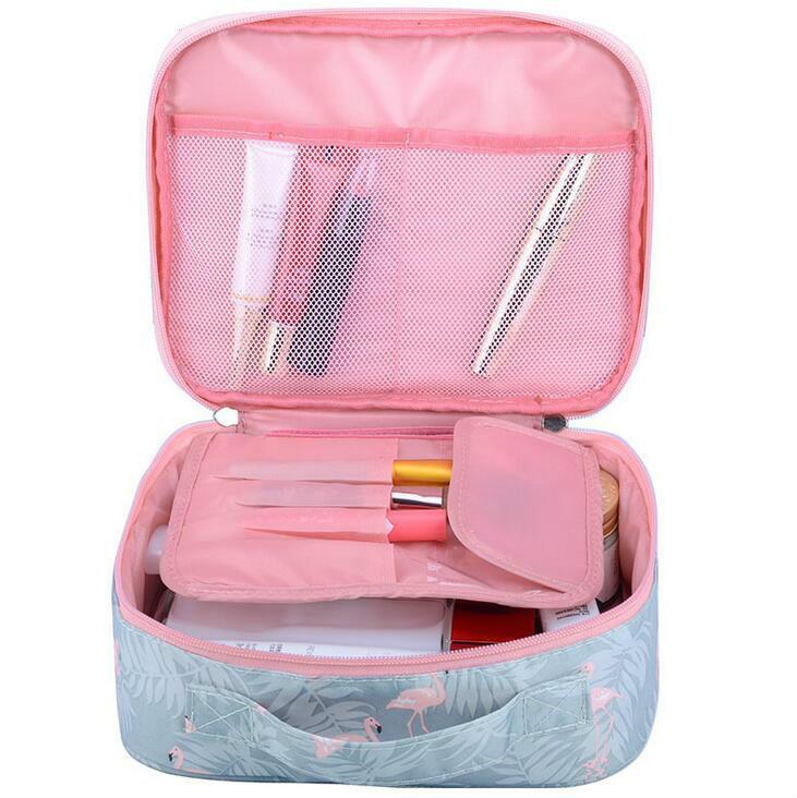 Bolsa de necesidad Bolsa de viaje portátil Lavado de aseo Nueva cosmética Organizador de nylon multifunción Corea floral Mujeres Caja cosmética NBTMF