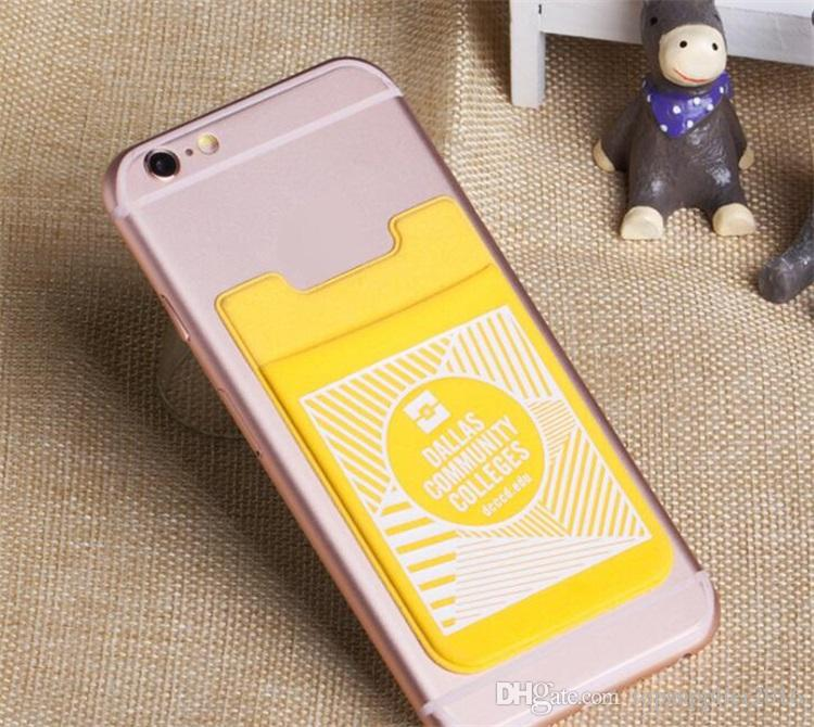OEM LOGO Smart wallet lycra card case cell phone credit card holder with designs stick on phone wallet for mobile phone