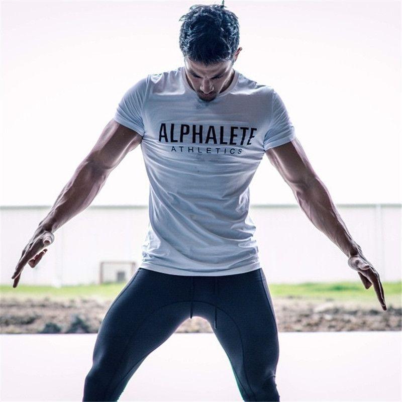 2018 T-shirt dos homens da aptidão Slim Fit Camisetas Crossfit algodão de manga curta roupas de moda Lazer O-Neck ALPHALETE impressa Tee