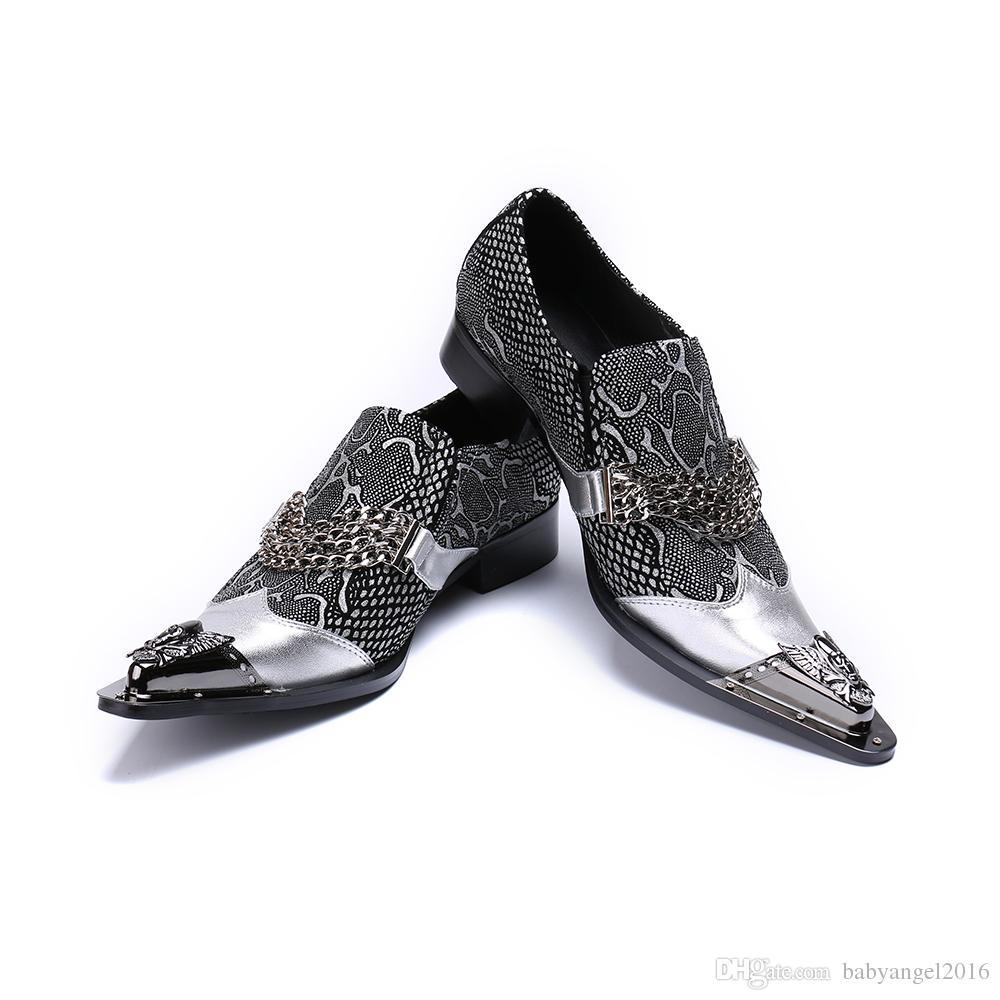 Ketten Männer Kleid Schuhe Hochzeit Formale Schuhe Silber Echtes Leder Business Schuhe Männlich Plus Größe