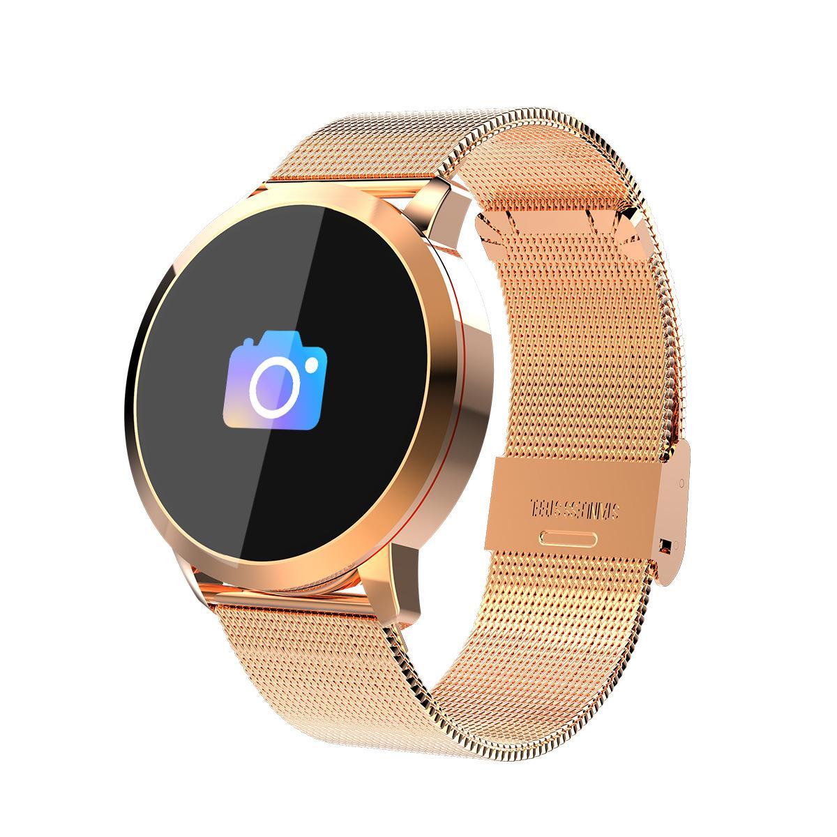 Q8 جولة الذكية ووتش مع حزام معدني اللون معلومات رصد معدل ضربات القلب الأكسجين دفع بلوتوث 4.0 ساعة ذكية