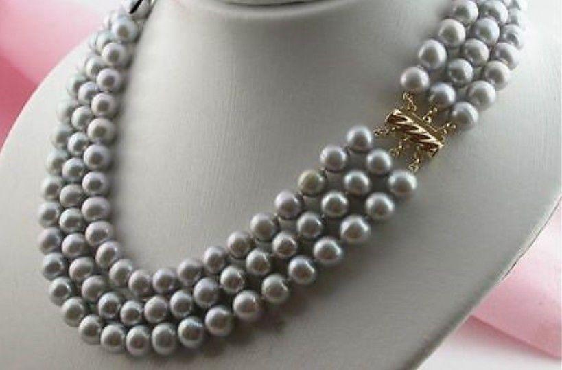 """NUOVA collana di perla grigia a 3 righe 8-9mm tahitian 16-18 """""""