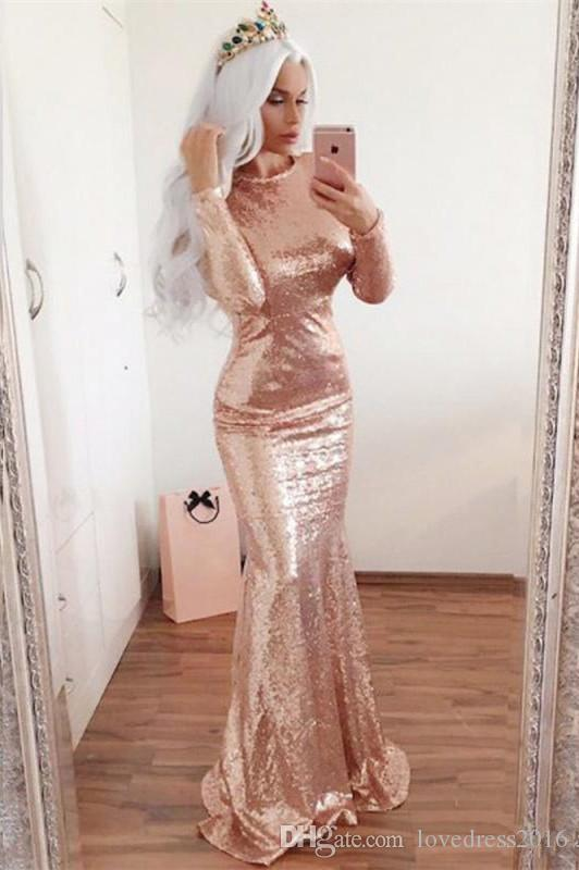 Bling Bling 2018 Long Sleeves Jewel Neck Sequined Mermaid Evening Dresses Open Back Sexy Prom Formal Pageant Gowns