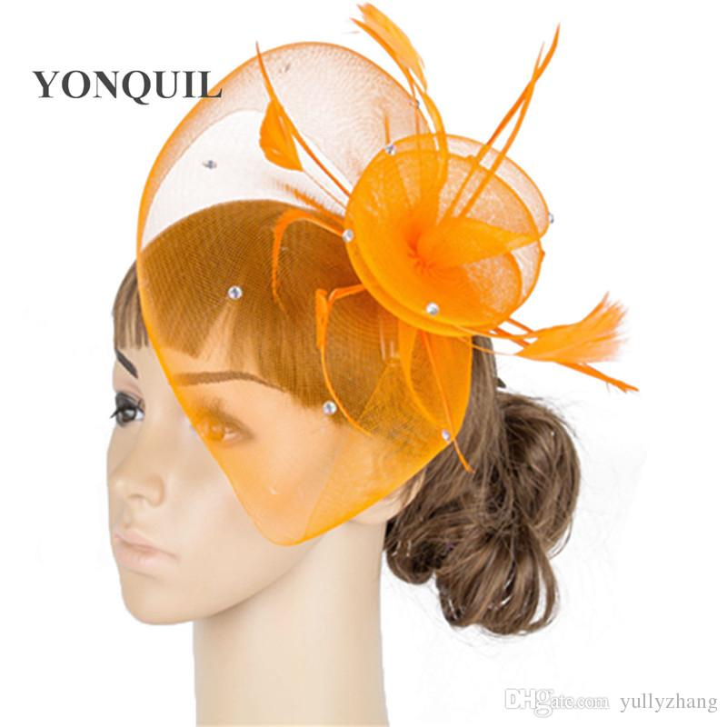Felpa multicolor fascinator copricapo colorato maglia piuma gara mostra accessori per capelli modisteria cappello da cocktail MYQ043
