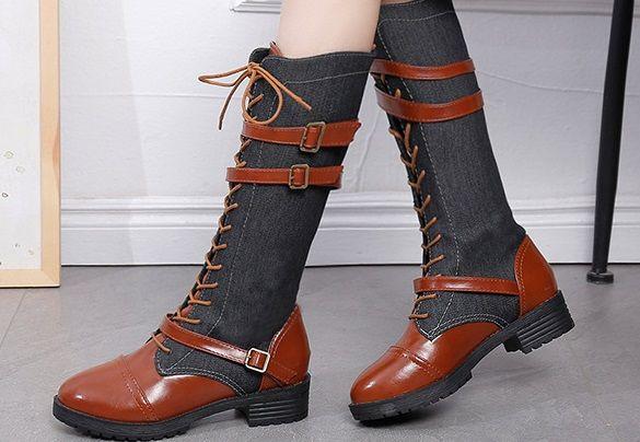 أتمنى الأمازون نماذج انفجار التجارة الخارجية الدنيم الأحذية عبر حزام حزام مشبك مارتن الأحذية 41-42 حجم كبير