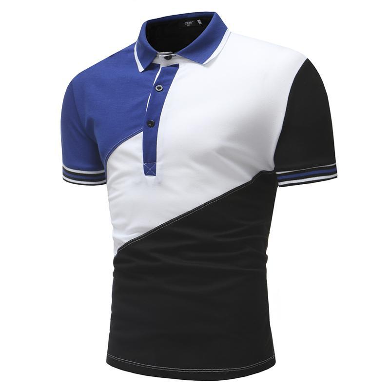 Camisa casual para hombre 2018 Nuevas llegadas vestido de verano manga corta 3 colores remiendo slim fit camisa hombres de gran tamaño M-XXL