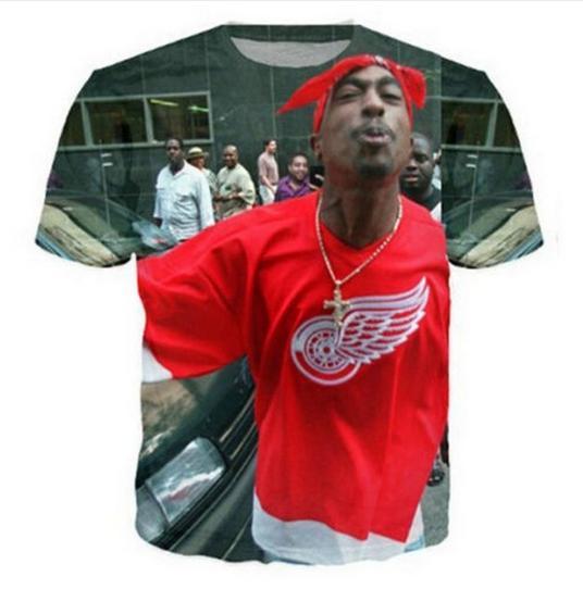 La más nueva moda para hombre / mujer 2pac Tupac Verano Estilo Divertido 3D Imprimir Casual Camiseta Tops Tallas grandes ZGX022