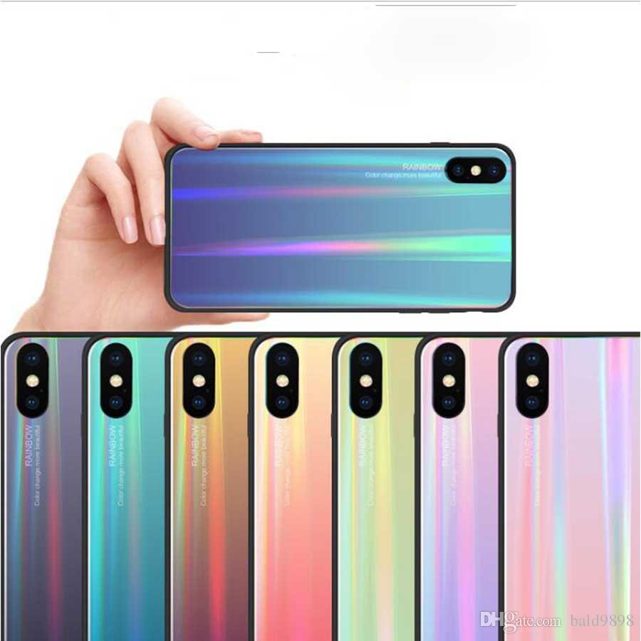 For iPhone Xs Max Xr Xs 7/8 Laser Glass Shell Soft Edge All Inclusive / Laser Craft / Glass Back Panel All-inclusive Anti-scratch explosion