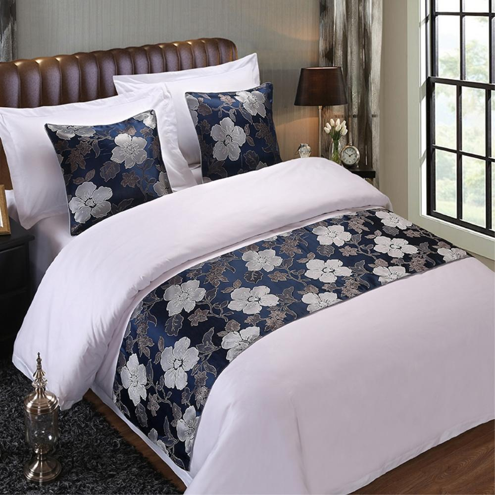 King Bedspreads On Sale.Home Hotel Decor Floral Bedspread Blue Flower Double Layer Bed Runner Throw Bedding Single Queen King Bed Cover Towel King Bedspreads On Sale Twin