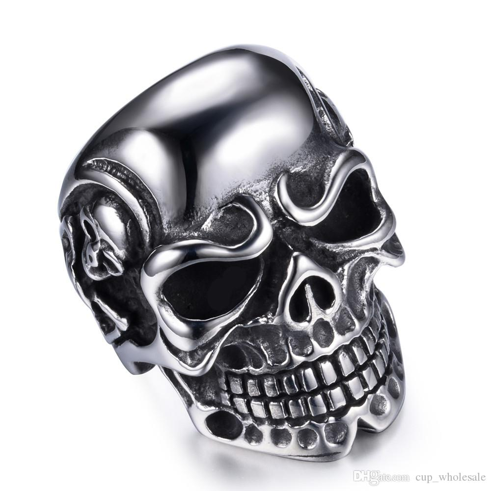 Fashion Man Stainless Steel Ring with Skull Skeleton Motor Biker Punk Jewelry Hand Polished Accessories For Wholesale