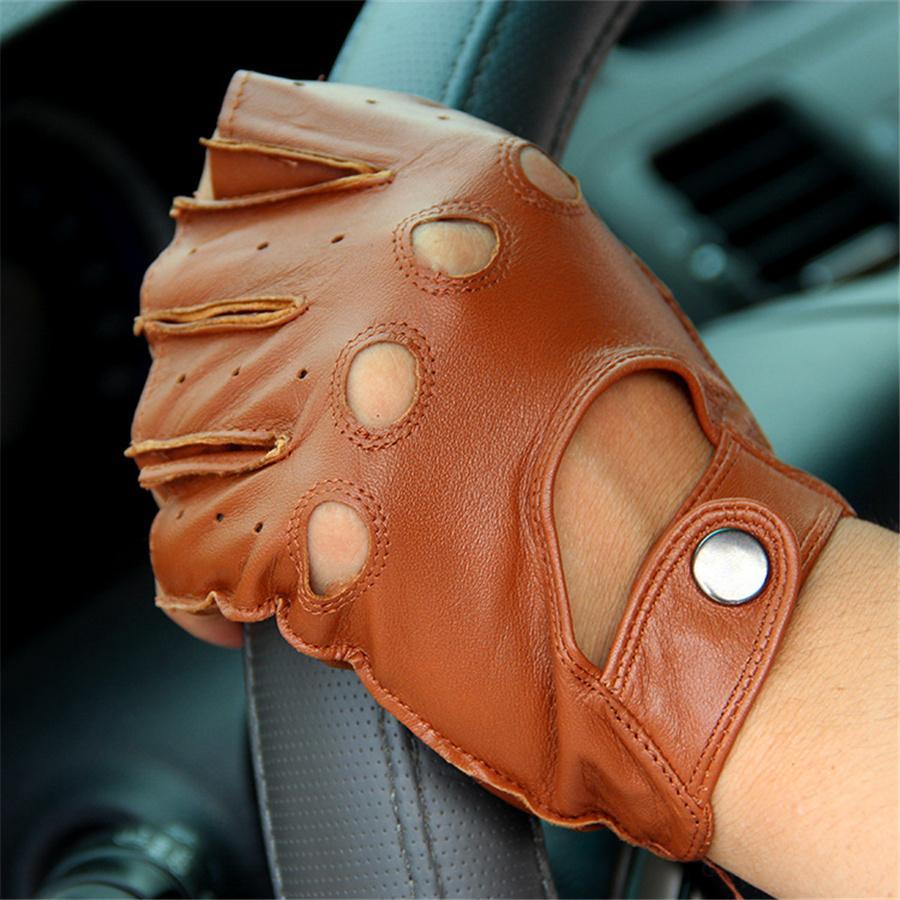 Directo de fábrica, guantes de medio dedo de cuero genuino que conducen guantes de piel de oveja masculinos, de primavera y otoño, tácticos antideslizantes F124