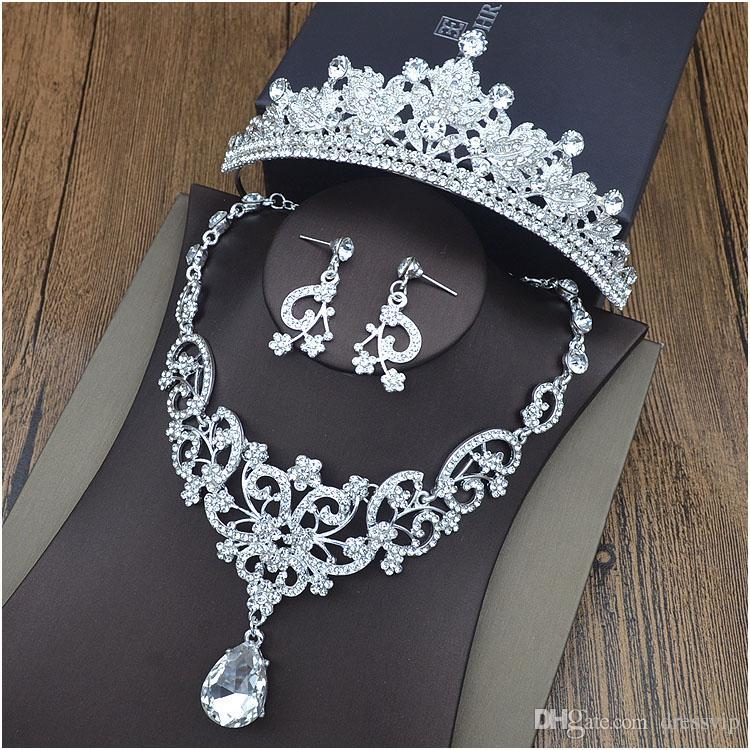 Corone in argento diademi per gioielli per capelli da sposa Orecchini in neceklace Accessori per abiti da sera economici per ragazze alla moda all'ingrosso