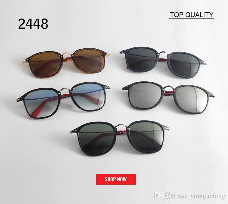Top Gafas de sol de moda para mujer Multicolor Mercury Espejo Gafas Hombres Hombre Mujer Revestimiento Sunglass 2448 cuadrados Gafas De Sol Feminino