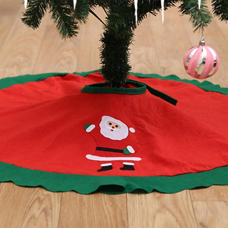 90CM Red Christmas Tree Skirt with Golden Ruffle Edge Tree Apron Ornaments Christmas for Home New Year Decoration