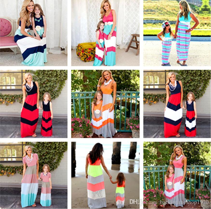 10 renkler Anne Kızı Elbise Çizgili Eşleştirme Anne Kızı Elbise Aile Bak Anne Ve Kızı Elbise Bohem Tarzı Aile Giyim
