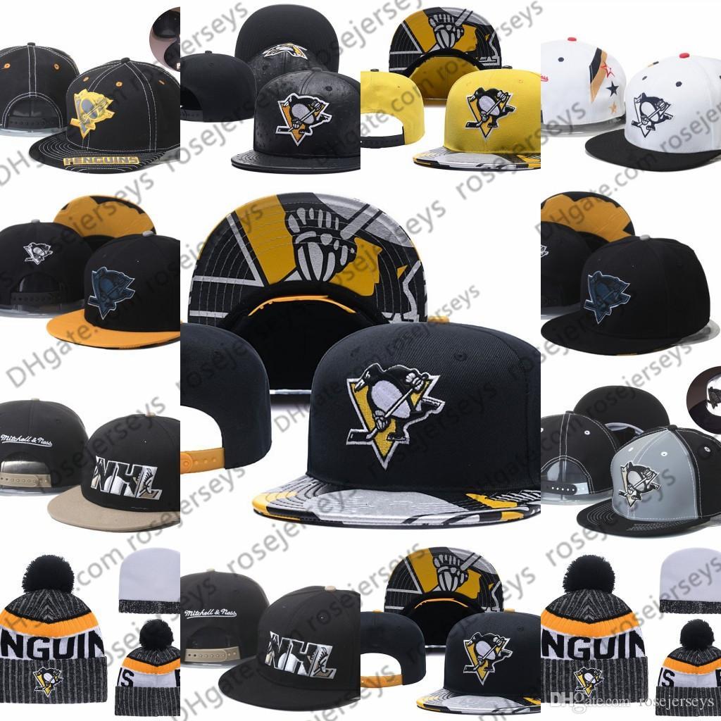 Pittsburgh Penguins Eishockey Knit Beanies Stickerei Adjustable Hut Bestickte Hysteresen-Kappen-Schwarz-Gelb Weiß genähtes Mützen One Size