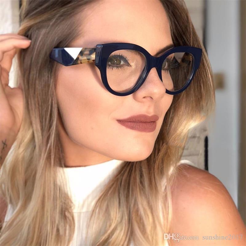 2018 أحدث أنثى القط العين النظارات النظارات النساء نظارات قصر النظر خمر السيدات النظارات واضح عدسة النظارات