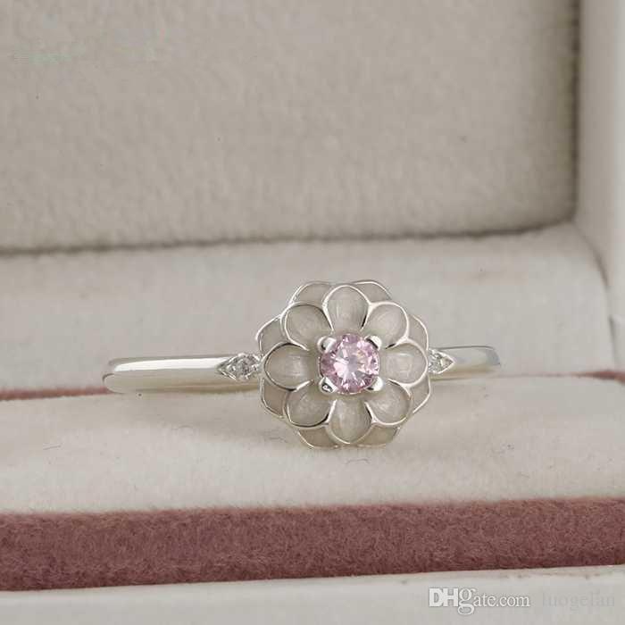 Compatibile con anello gioielli Pandora argento crema smalto anelli di cristallo 100% 925 gioielli in argento sterling all'ingrosso fai da te per le donne