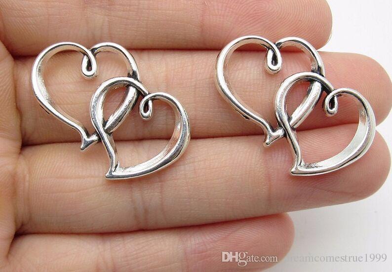 100 قطع سبائك مزدوجة القلب سحر العتيقة الفضة سحر قلادة ل قلادة مجوهرات جعل النتائج 30x18 ملليمتر