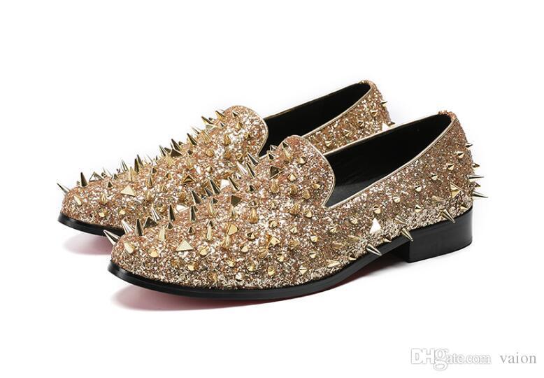 Hombres diseñador de lujo Punk rock británico Gold Studded Rivet oxfords shoes 2019 Homecoming Male wedding prom zapatos de vestir formales más el tamaño 7-12