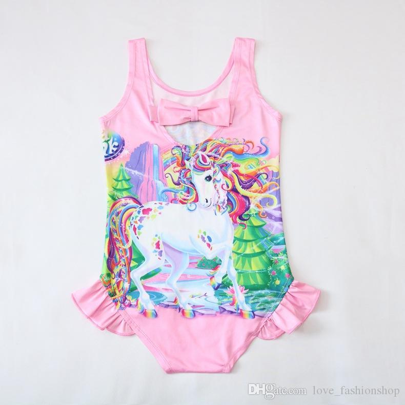 أطفال ملابس الكارتون الطفلات يونيكورن واحدة-- قطعة المطبوعة القوس حللا السروال القصير ثوب السباحة طفل الفتيات الصيف ارتداءها بيكيني