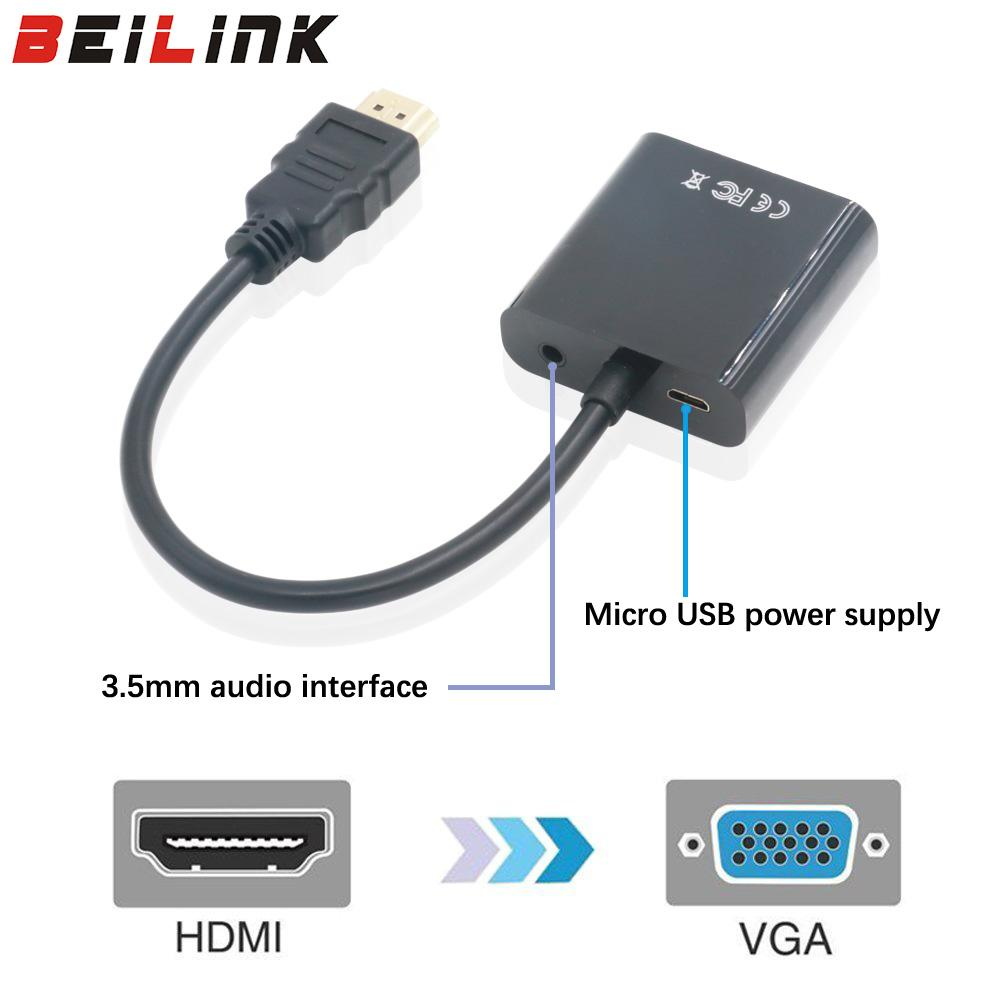 HDMI to VGA Adapter with Audio Cable Male To Femal...