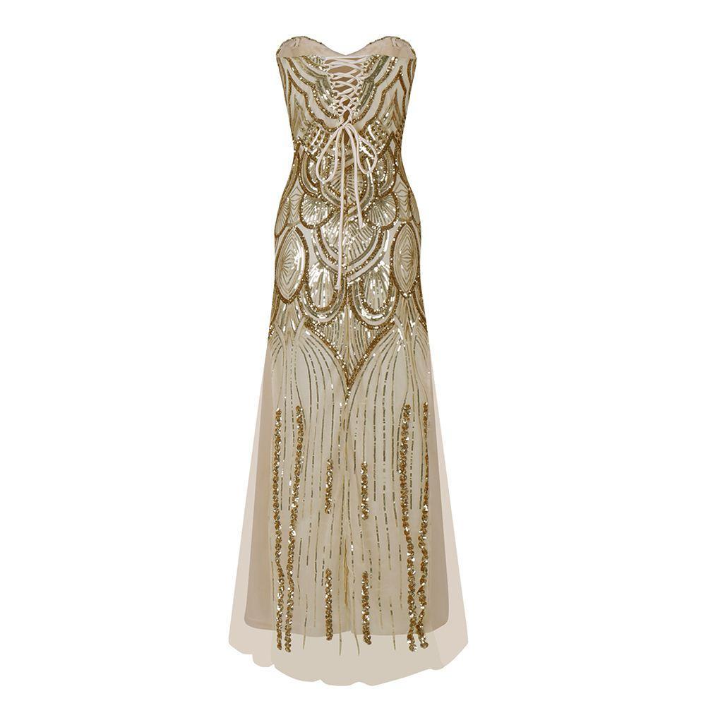 Großhandel 12er Jahre Stil Glänzende Flapper Kleid 1912er Jahre Vintage  Gatsby Great Gatsby Charleston Pailletten Quaste Party Gold Mesh Pailletten