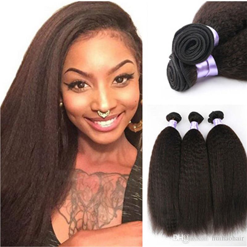 8A Brezilyalı Bakire Saç Sapıkça Düz 3 Demetleri 100% Brezilyalı Kinky Düz İnsan Saç Uzantıları Brezilyalı Kaba Yaki Düz Saç