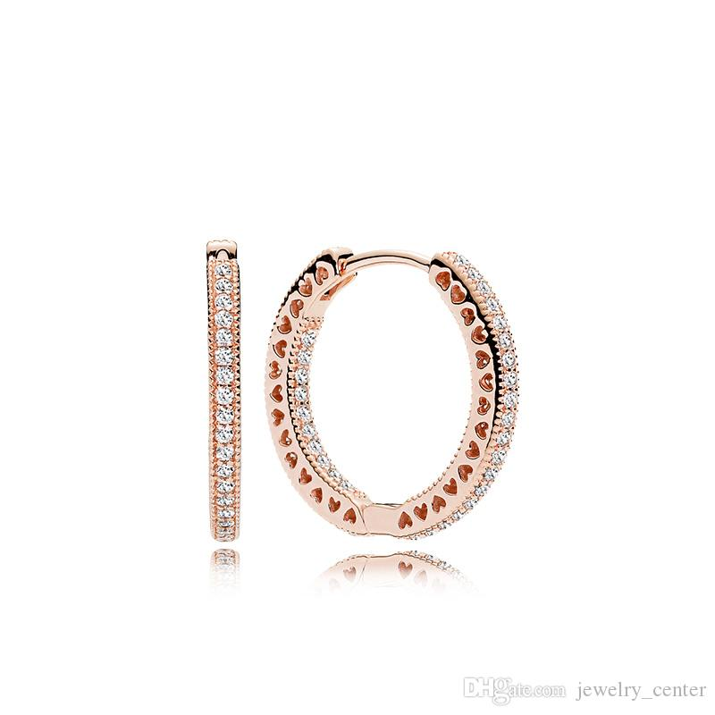 100% 925 Silver 18K Rose Gold Plated Hoop Earring with Clear CZ stone Original box for Pandora Jewelry Women's Christmas Gift