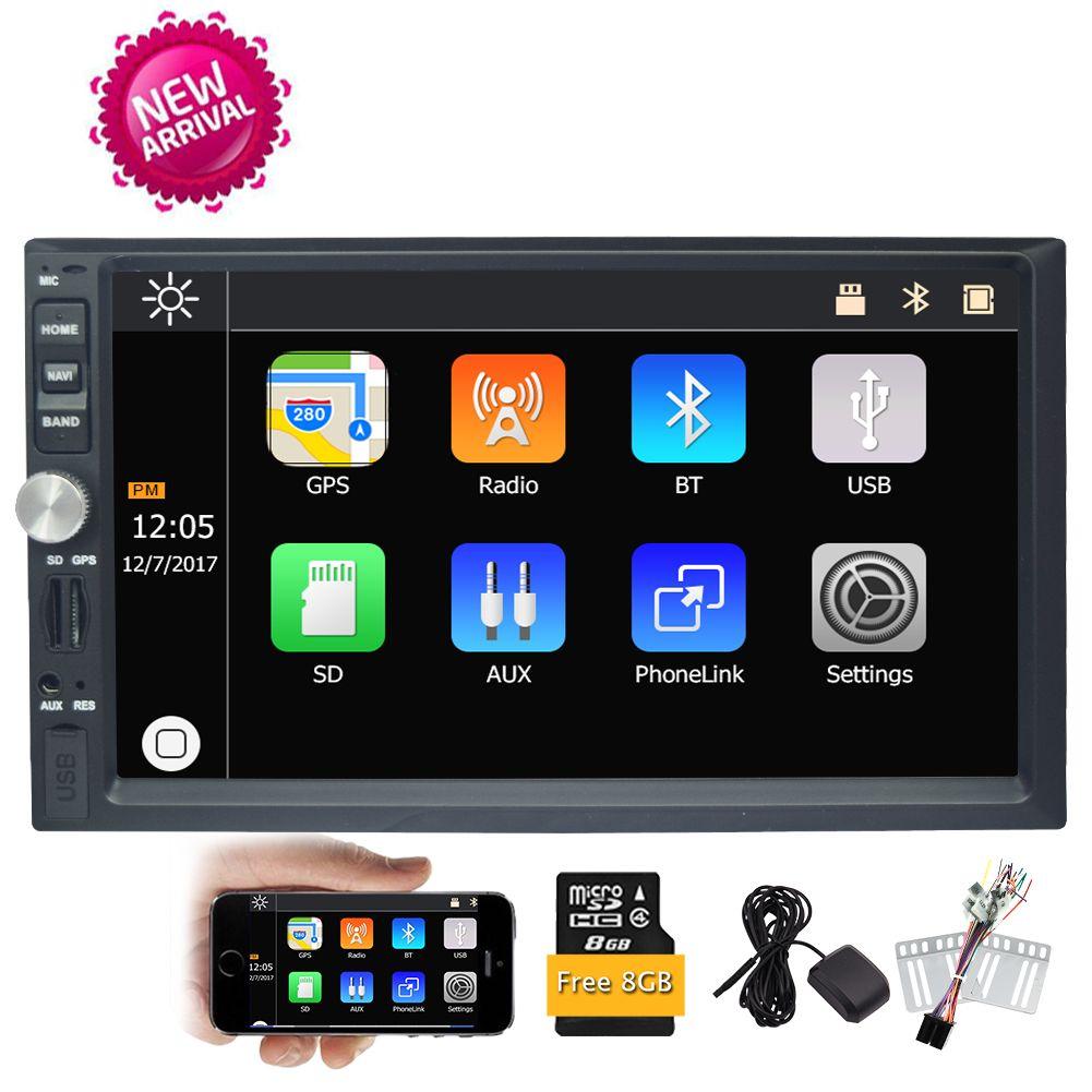 EinCar 7''Car Stereo Radio MP5 Player GPS Navigation Bluetooth/Audio/MP5/USB/SD/AM In-Dash FM Aux Input Receiver USB Charger Steering Wheel