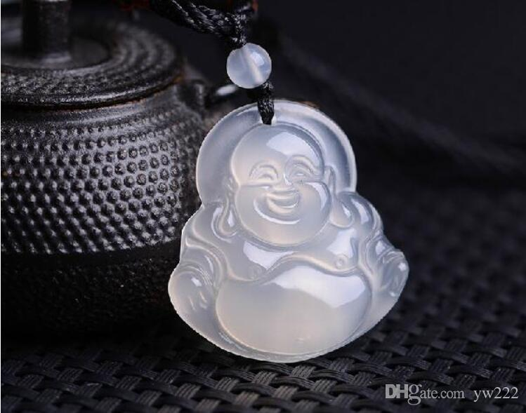 Calcedônia branca Buda pingente de jade maitreya Buddha Rindo Buddha Colar pingente de Jóias para mulher