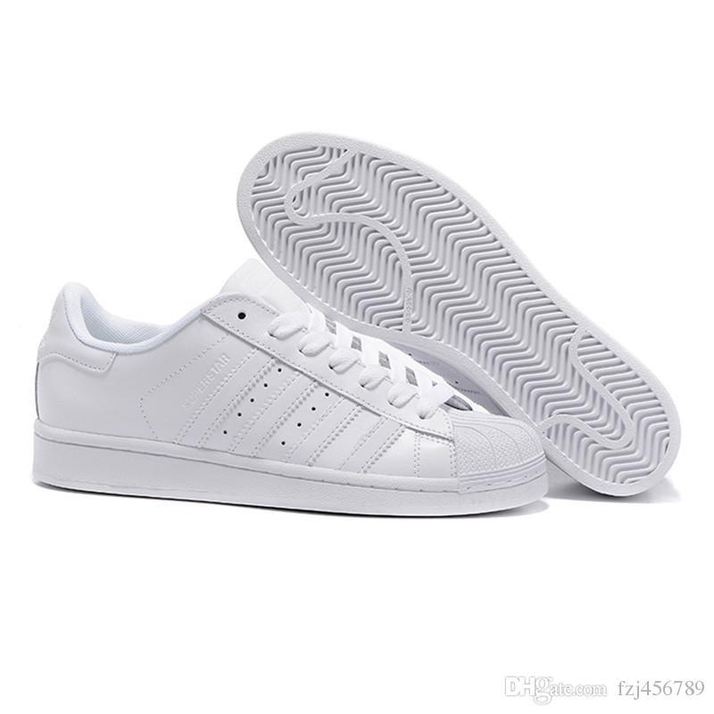 Compre Adidas Los Zapatos De Los Hombres 2019 Para Los Zapatos De Las  Mujeres Zapato Blanco Deslumbran Con Láser El Color Superstar Shell Head  Zapatos ...