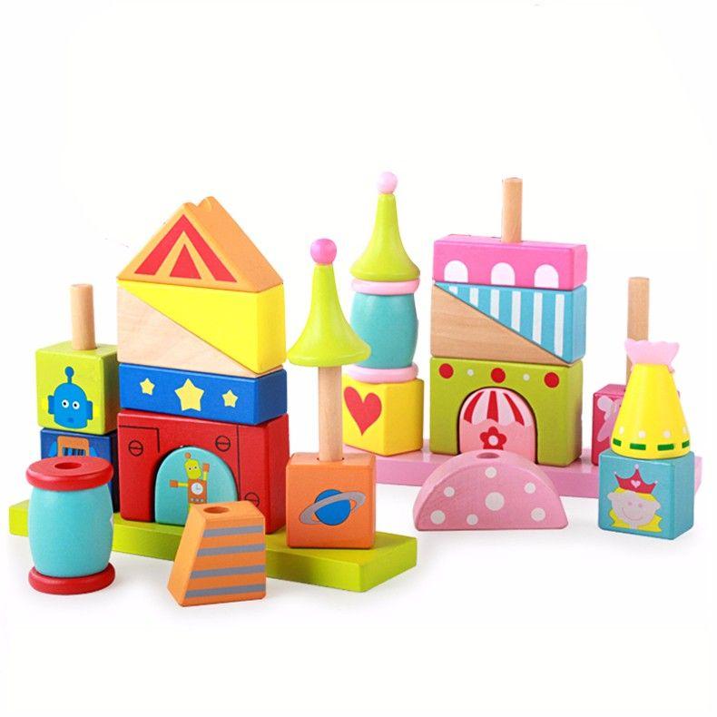 Wood Assemble Tree Montessori Chopping Building Blocks Kid Educational Toy