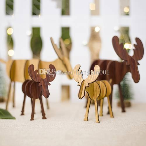 2 Sizes Christmas Wooden Deer Pendants Ornaments DIY Ornaments Xmas Tree Ornaments Kid Gift For Christmas Party Decoration