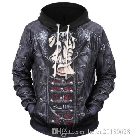 Sondirane Fake Two Pieces Hoodies Men/Women Thin 3d Sweatshirts Print Fake Leather Jacket Skull Hooded Hoodies Long Sleeve Tops