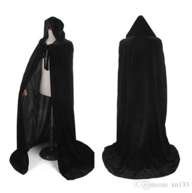 Velvet Kapuzenumhang Gothic Vampir Wicca Robe Mittelalter Larp Cape Unisex Erwachsene
