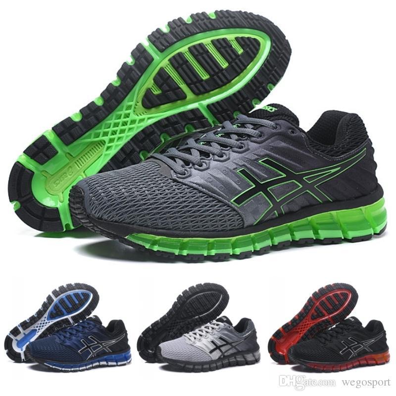 Acheter 2018 Nouveautés Asics GEL QUANTUM 360 II Hommes Chaussures De Course Gris Vert Noir Respirant Athlétisme Remise Sport Sneakers Taille 36 45 De