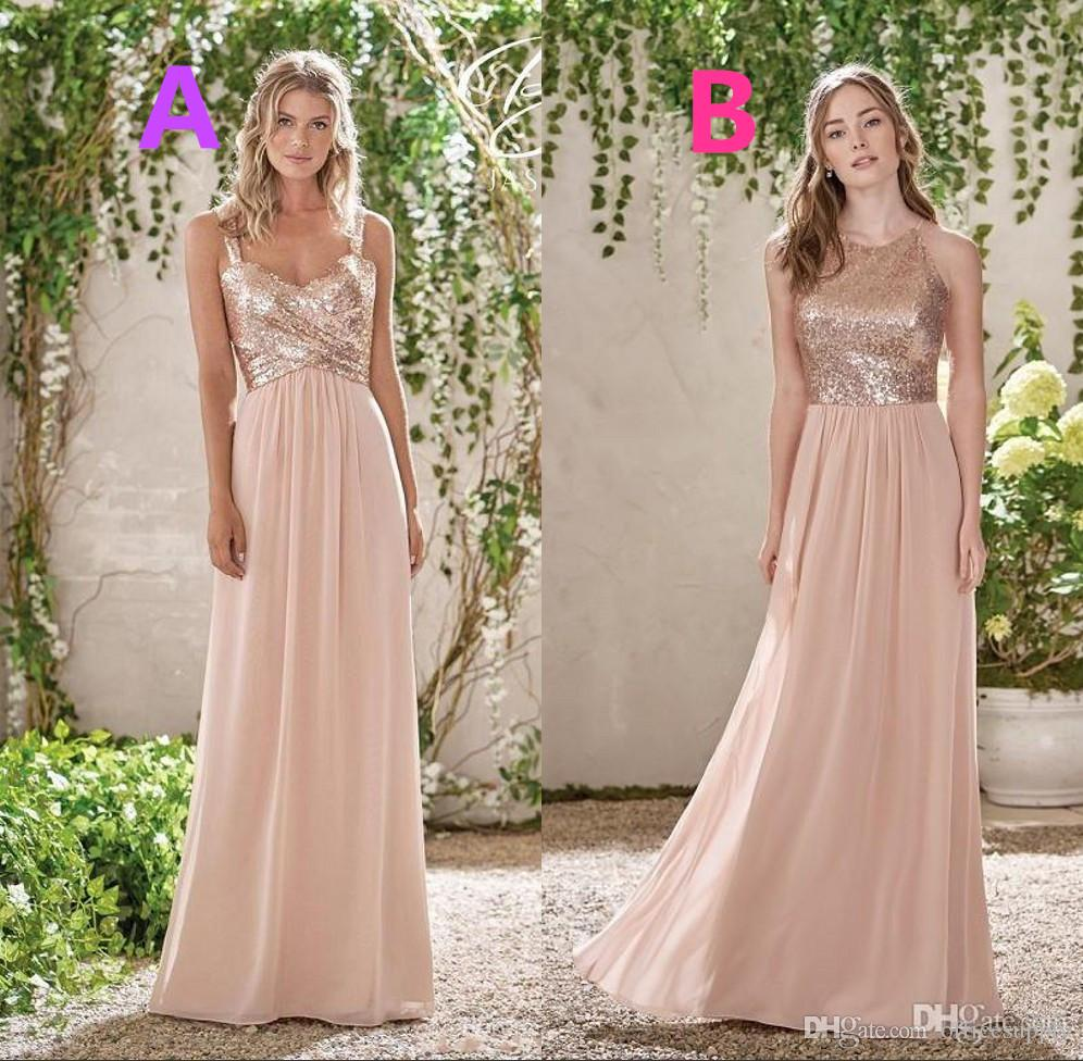 2018 Sparkly Rose Gold Sequined Bridesmaid Dresses Long Chiffon Halter A Line Straps Ruffles Pearl Pink Maid Of Honor Wedding Guest Dresses
