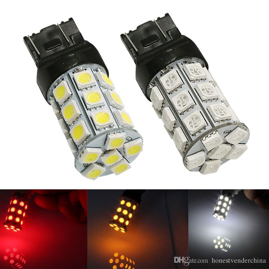 2 шт. / Лот W21 / 5W 7443 7440 T20 27SMD 5050 Суперяркая светодиодная лампа Лампа для автомобиля Источник сигнала поворота Singal Задний тормоз Резервный стояночный стоп-сигнал