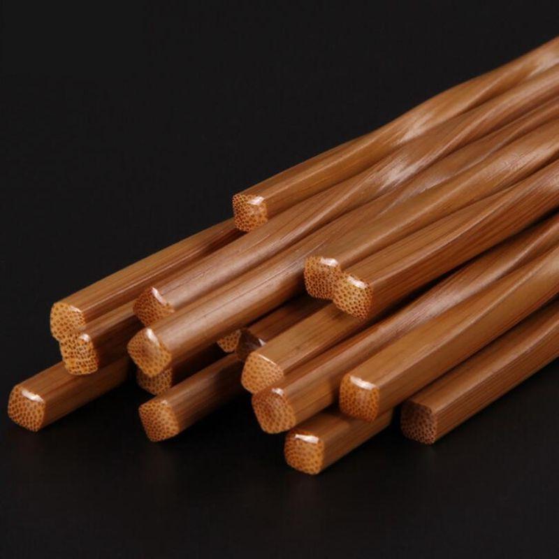 Pauzinhos de bambu natural carbonizado pauzinhos torcidos 24 cm de cozinha bar de jantar Talheres Hotel de estilo japonês Eco-Friendly pauzinho de bambu