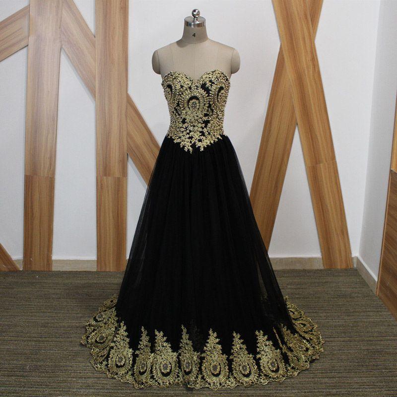 Encaje Negro Vestidos De Noche Negro Con Dorado