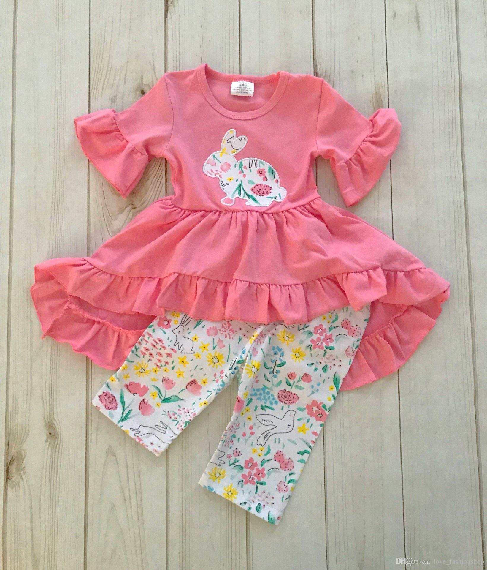 Neue Baby Mädchen Kaninchen Gestickte Zweiteilige Anzüge Set Ruffle Kleid + Blume Gedruckt Hose Outfits Kinder Halloween Cosplay Kostüme Kleidung