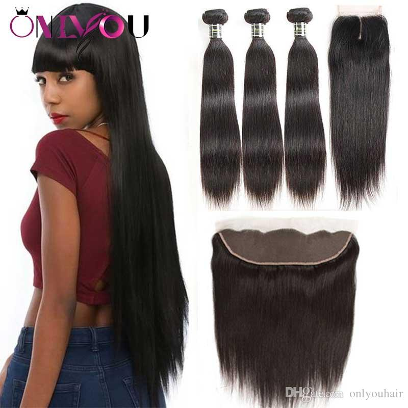 Onlyou Hair® 9a Brazilian Virgin Hair Straight Bundles with Closure 100% Remy Human Hair Weave 3/4 Bundles with 13*4 Lace Frontal Closure