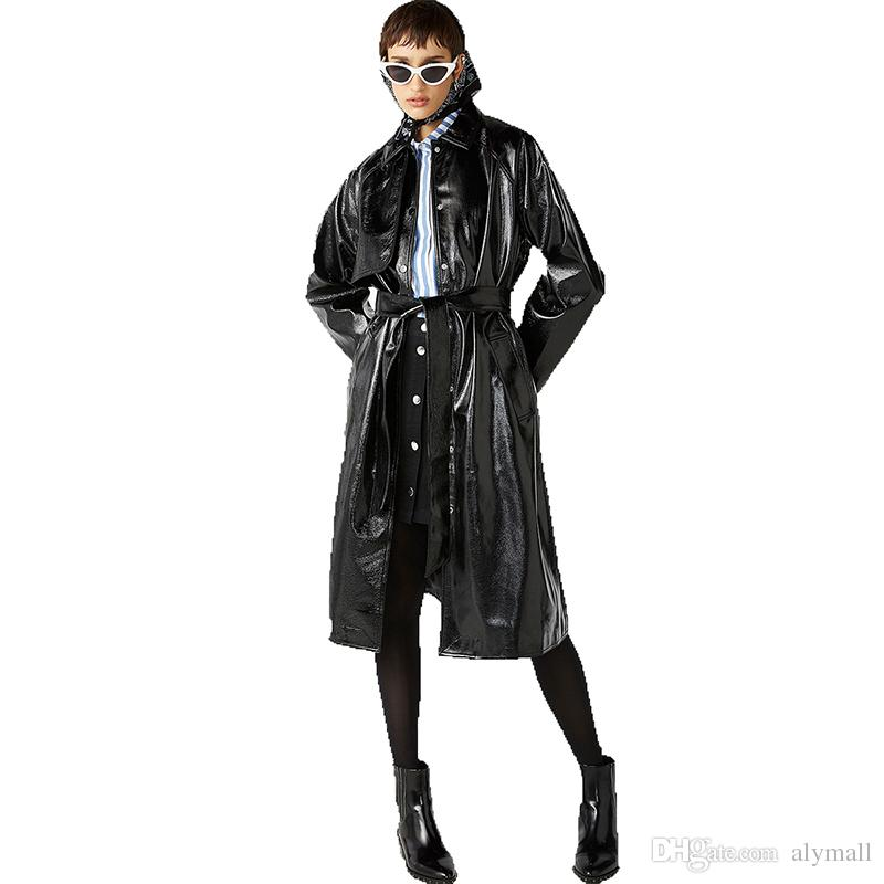 Euramerican Fashion Sexy Comfortable New style Delicate Bind Classic waistband knotted split leather trench coat