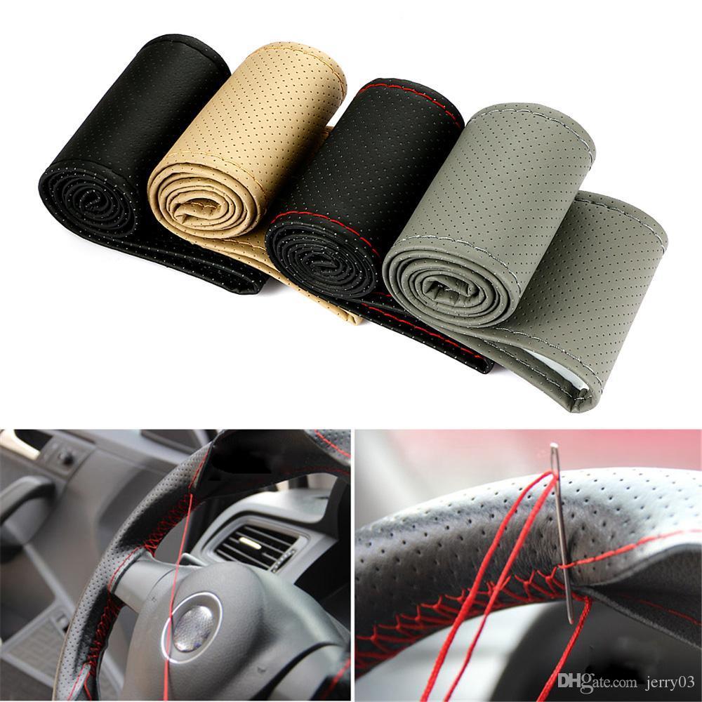 Antideslizante Br comestible de cuero artificial de la cubierta del volante del coche de DIY con las agujas y el hilo Car styling Accessories 38cm
