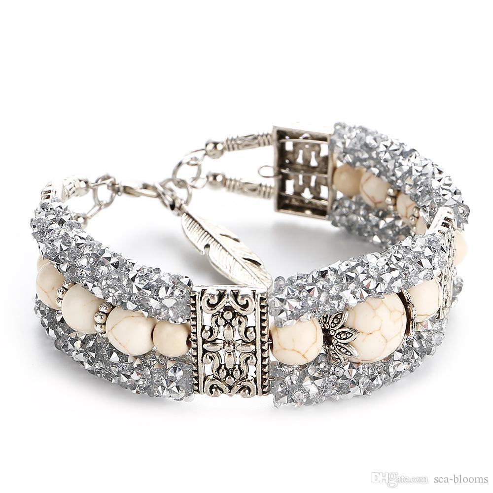 À la mode Naturel Turquoise Perles Bracelet Charme Bracelet Fil Cercle Diamant Brillant Bracelet Femmes Boutique Bijoux Cadeau 4 Couleurs H276F