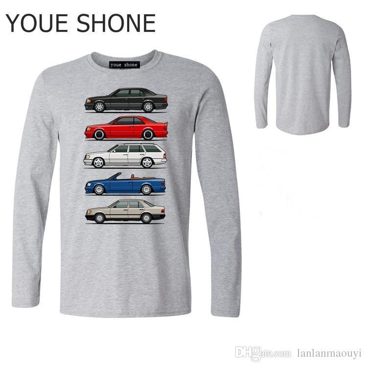 Divertente pila di Mercedes W124 Classe E Uomo T-shirt Youth Car styling T-shirt manica lunga T-shirt Top in cotone sportivo